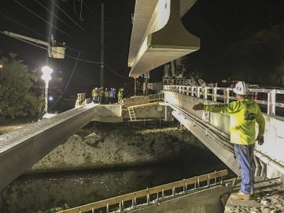 Two Monster Beams Put into Place For New Pedestrian Bridge Over Adams Cut in Key Largo