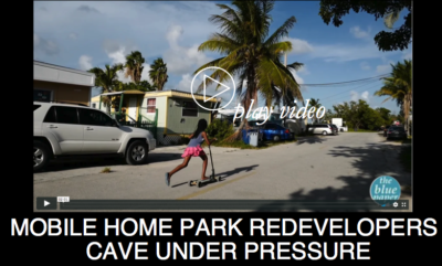 MOBILE HOME PARK RE-DEVELOPERS CAVE UNDER PRESSURE