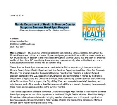 Florida Department of Health in Monroe County Supports Summer BreakSpot Program