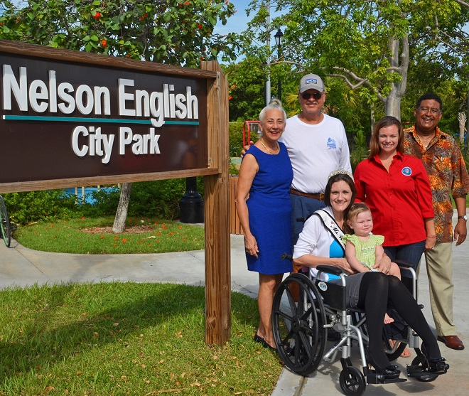 Standing: Commissioner Margaret Romero, Recreational Facilities Manager Randy Sterling, Community Services Administrative Assistant Stephanie Johnson and Commissioner Clayton Lopez. Seated: Ms. Wheelchair Florida 2016 Heather Taylor and her daughter Grace.