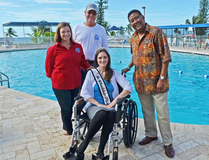 Standing: Community Services Administrative Assistant Stephanie Johnson Recreational Facilities Manager Randy, City Commissioner Clayton Lopez. Seated: Ms. Wheelchair Florida 2016 Heather Taylor and her daughter Grace.