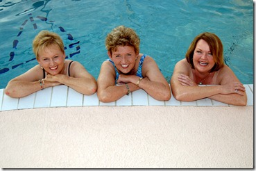3 Active Adult Ladies in the pool