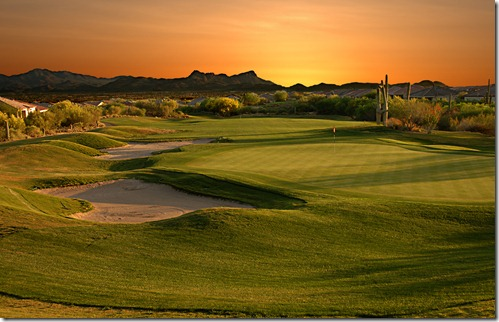 Arizona Golf couse at sunset