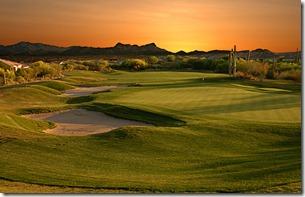 Arizona Golf couse at sunset