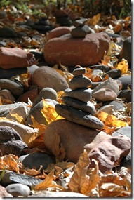 Rocks stacked with fall leaves in Sedona Arizona