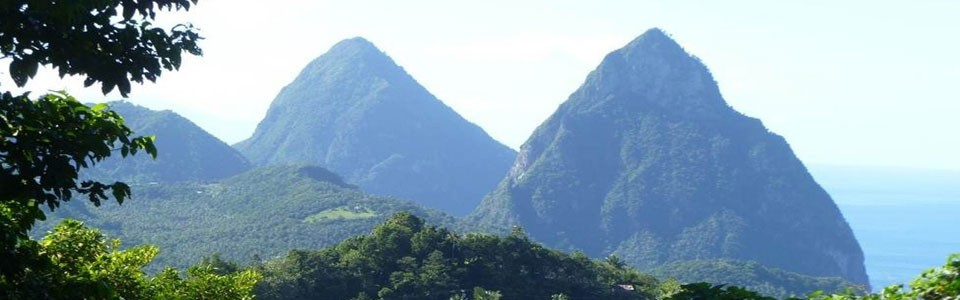St. Lucia's twin Pitons are a Caribbean marvel