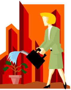 biz woman watering plant