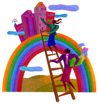 bizwoman on ladder rainbow