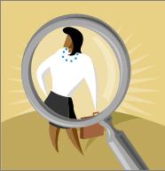 bizwoman under magnifyglass