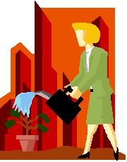 bizwoman watering plant