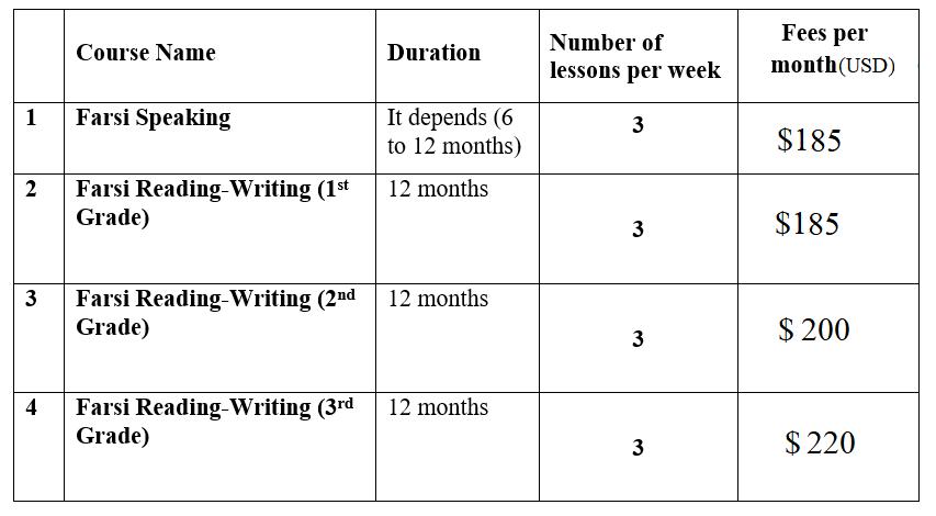 online Persian school fees