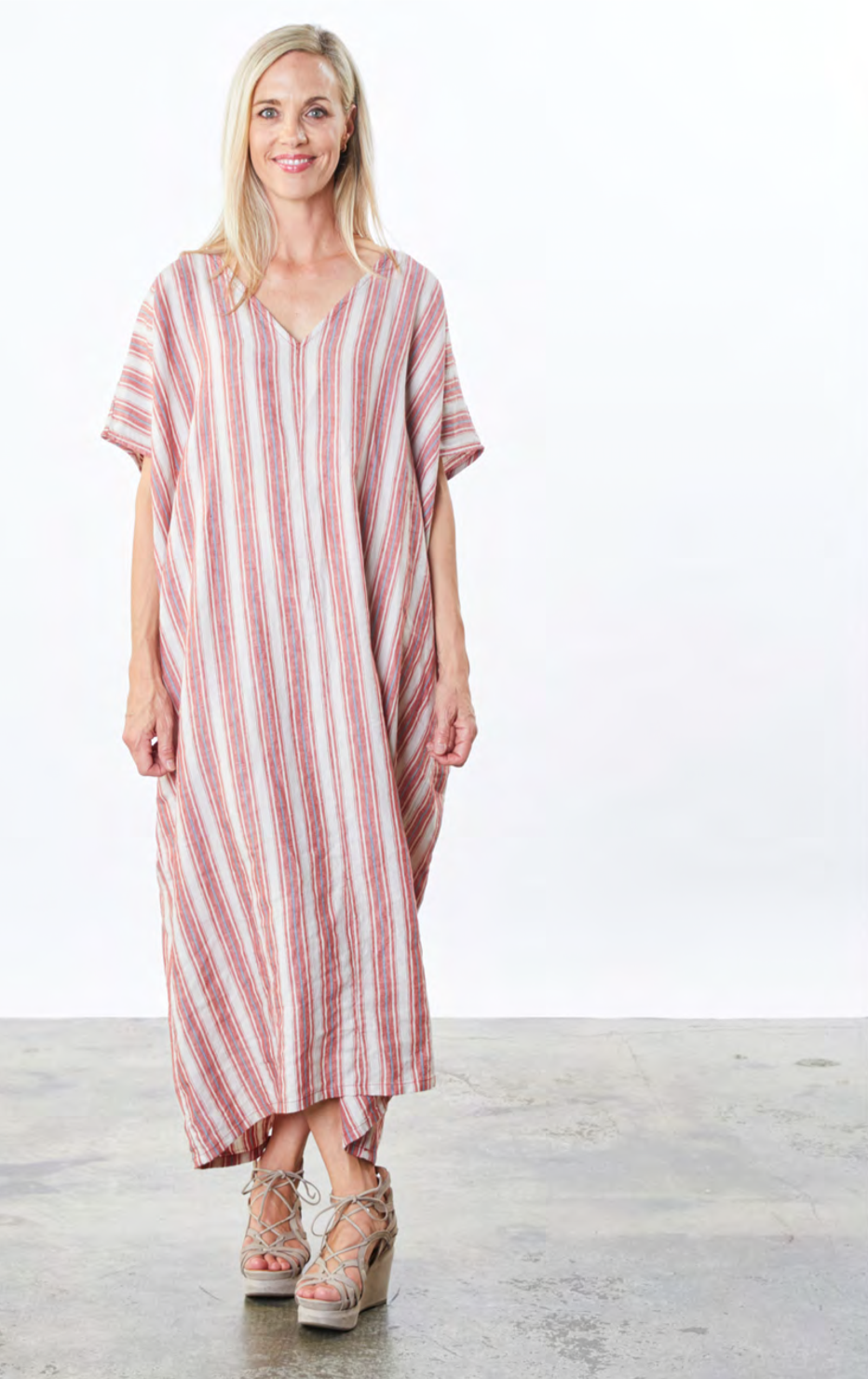 Bryn, Walker, usa, california, fashion, collection, brand, american, local, made, in, berkely, ladies, wear, ladieswear, ss2021, 2021, spring, summer, stripes, dress, v-neck, casual, easy