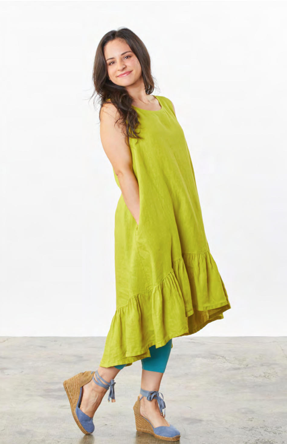 Bryn, Walker, usa, california, fashion, collection, brand, american, local, made, in, berkely, ladies, wear, ladieswear, ss2021, 2021, spring, summer, linen, lime, dress