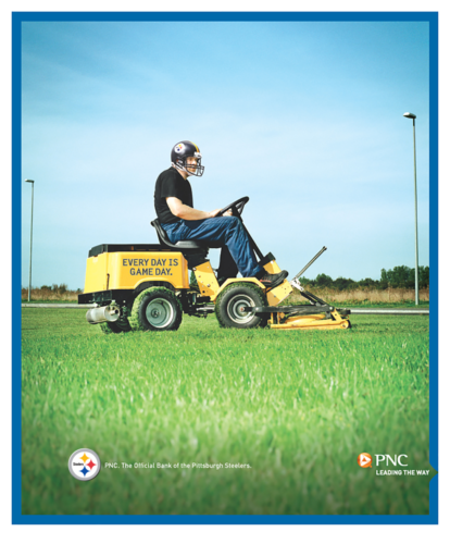pnc print steelers lawnmower
