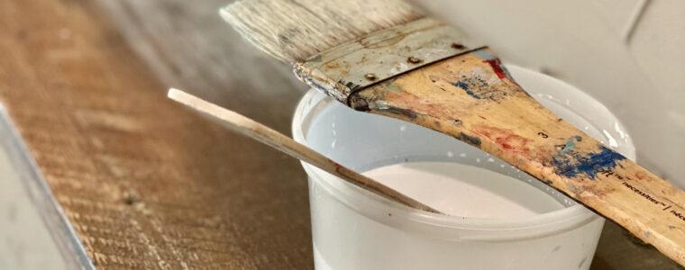 Whitewashing Our Crusty Salvaged Mantel