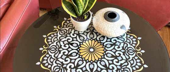 Reverse-Painted Round Table Glass Project