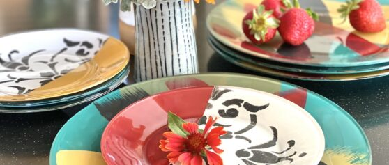 Paint Artsy Glass Dishes – In Reverse!