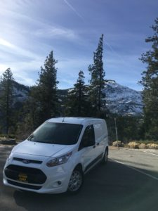 Crossing the Sierras with new company van