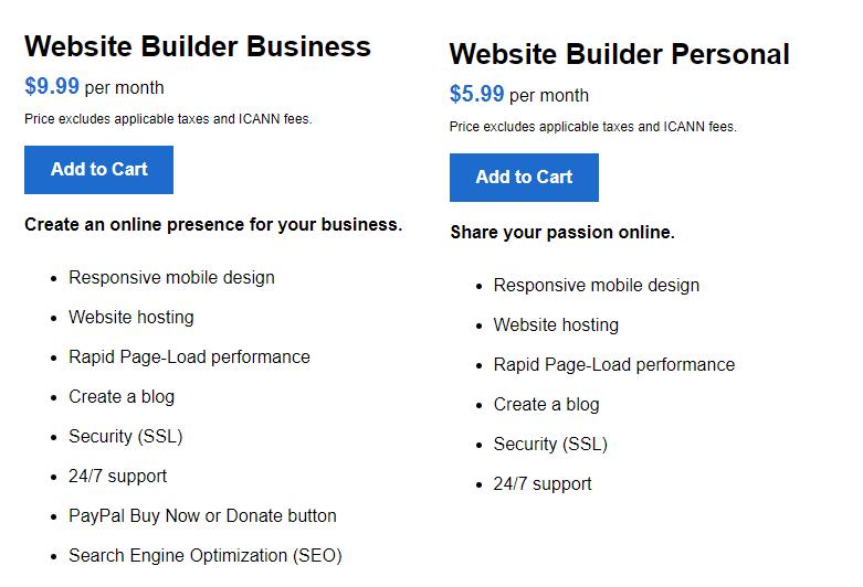 website builder business personnal