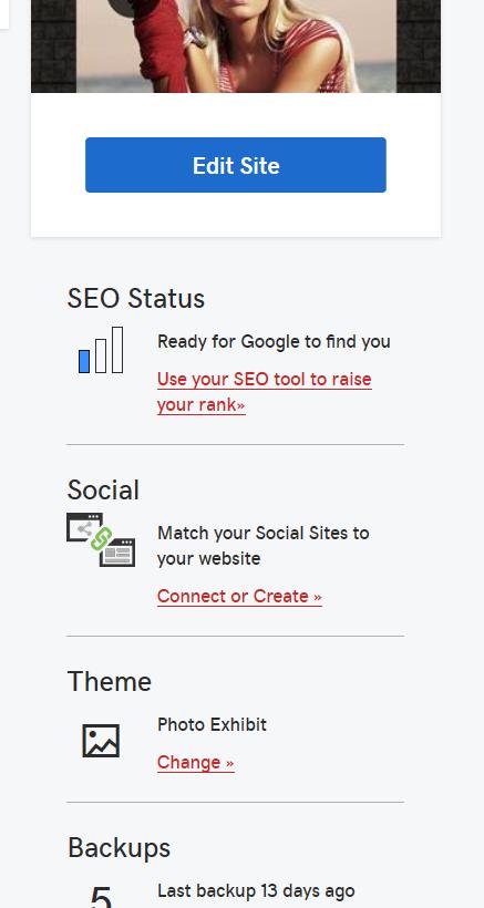 Website Builder dashboard