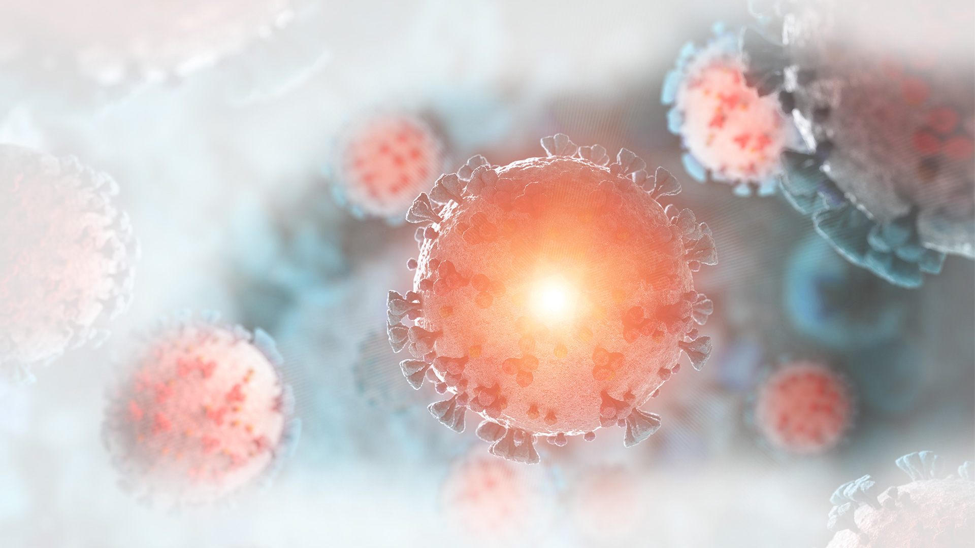 Blue and orange illustration of diseased virus infected tissue floating