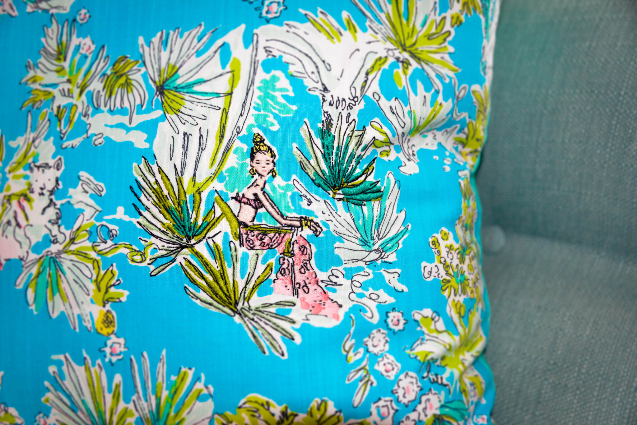 Embroidered Lilly Pulitzer Pillow