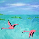 Flying Flamingo Acrylic Painting