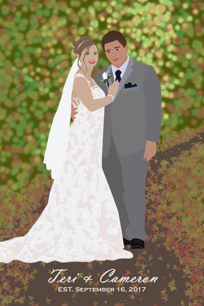 Fall Wedding Portrait Illustration