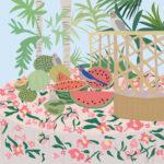 Tropical Parrot Fruit Illustration
