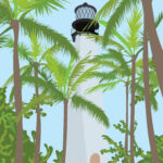 Lighthouse Palm Tree Digital Portrait