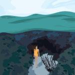 Underwater Swimmer Tropical Digital Illustration