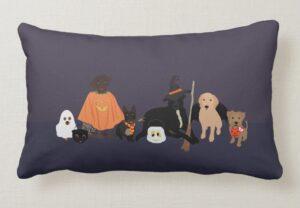 Halloween Dogs Illustrated Pillow