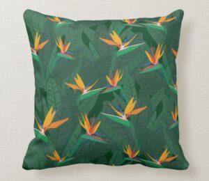 Bird of Paradise Illustrated Pillow
