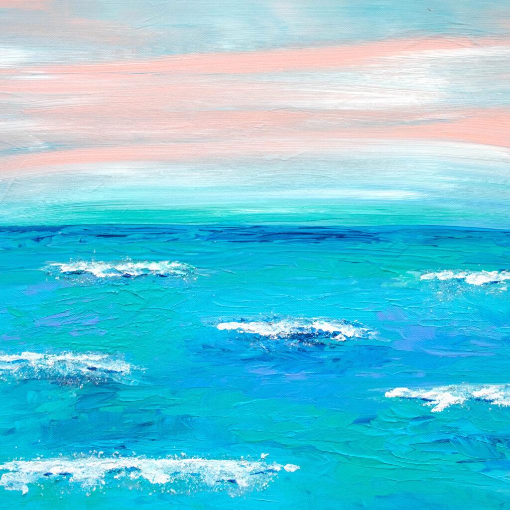Acrylic Beach Sunset Painting