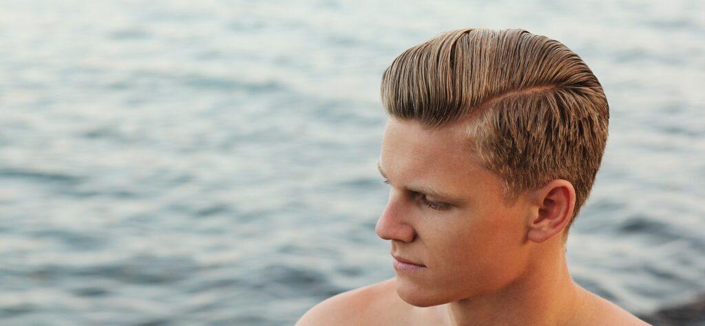 Man's Hair Styled at the Beach