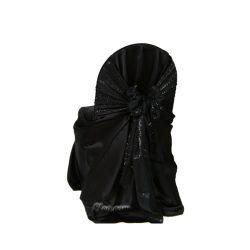 black satin lamour wrap chair cover sash