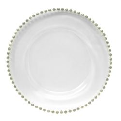 silver beaded glass charger plate service plate