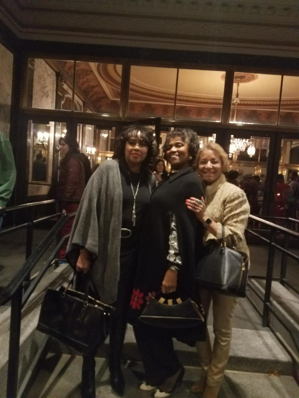 President Maureen Black celebrating birthday w/Columbus President Carat Clemya and VP Carat Sherry at the Palace Theatre featuring Trevor Noah.