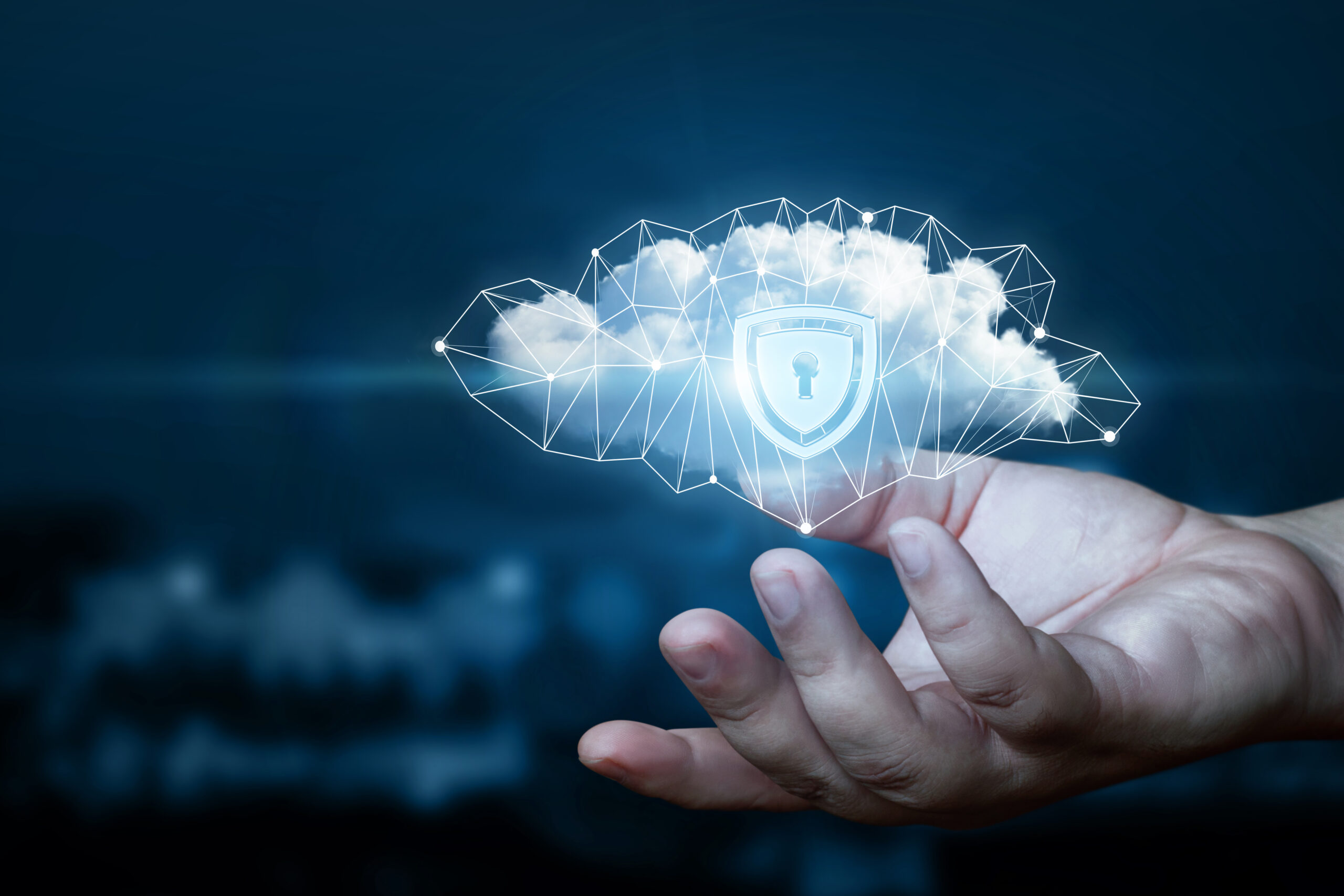 Hand shows a data cloud with a protective shield. The concept of data protection