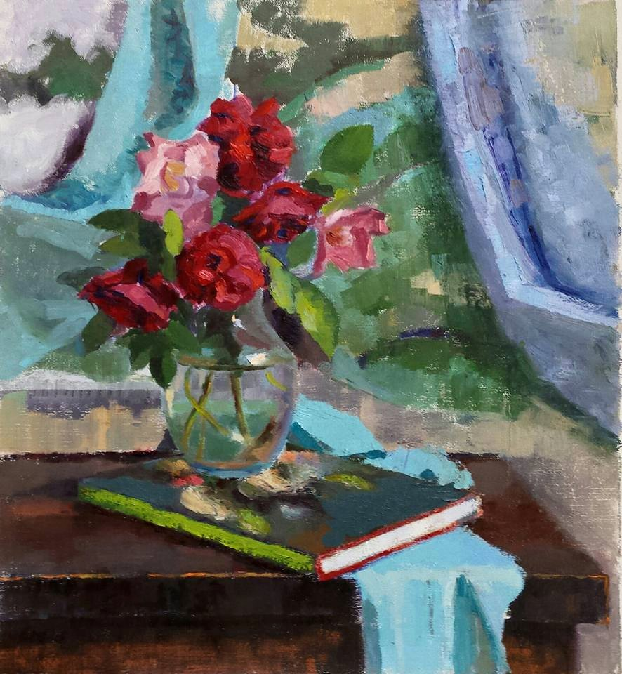Roses with Book. oil on canvas.