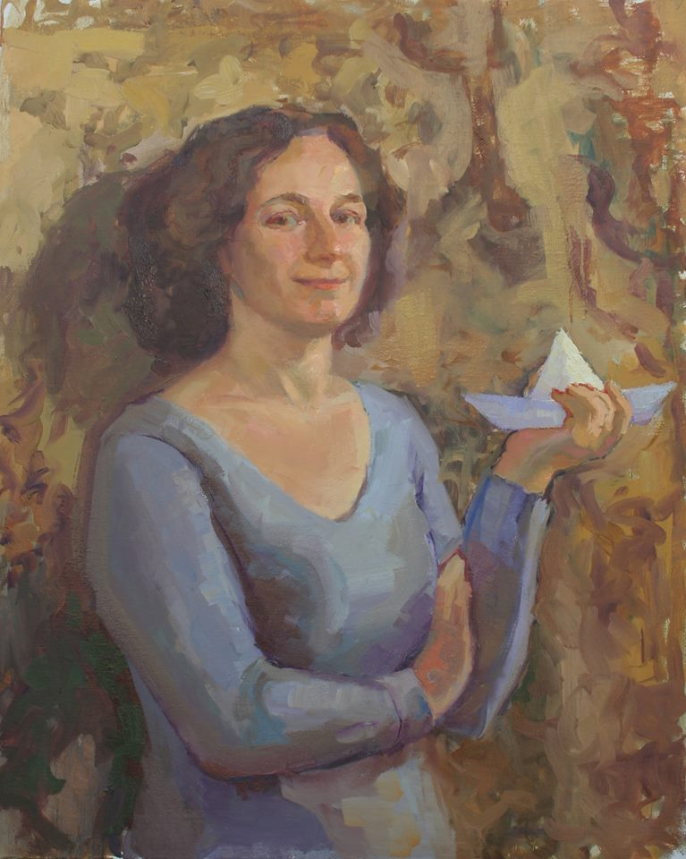 Self Portrait with Paper Boat. oil on canvas