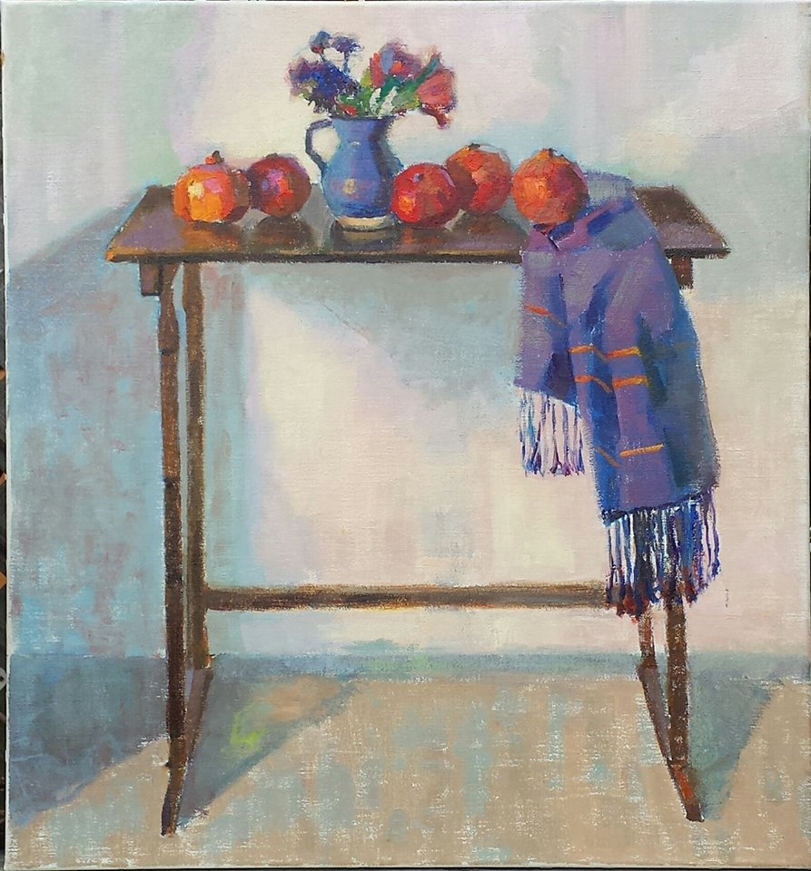 Still Life with Pomegranates. oil on canvas.