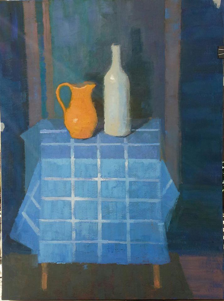 Blue Still Life. oil on board.