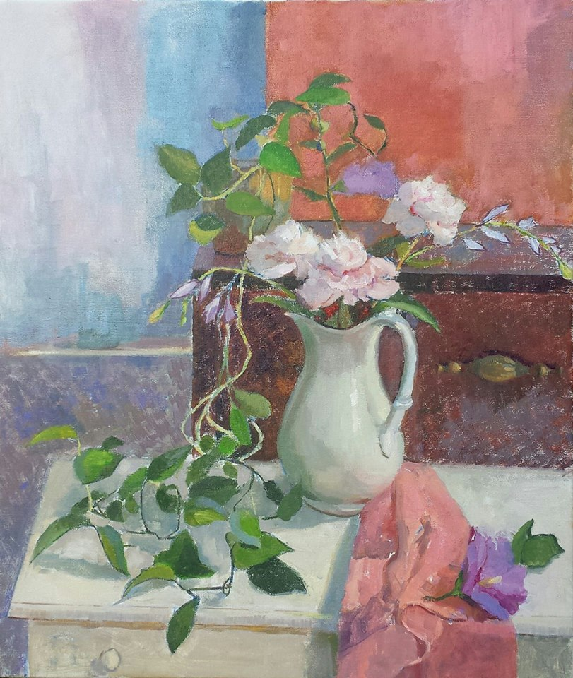 Roses and Spiderplant. oil on canvas.