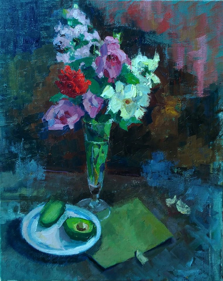 Flowers and Avocados. oil on canvas.