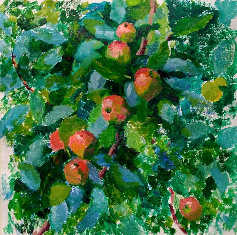 Apple Branches in Guidel. Bretagne. oil on canvas.