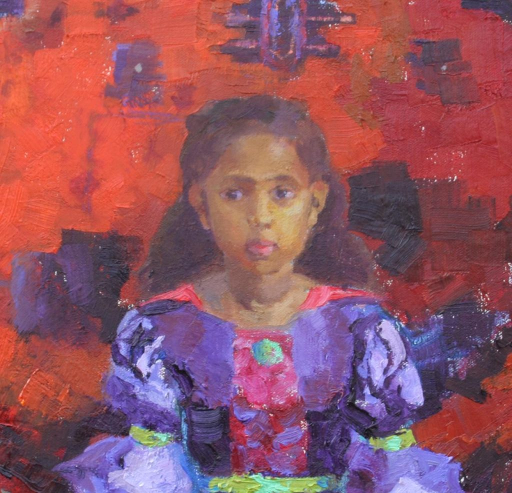 Girl with Oriental Carpet. detail. oil on canvas