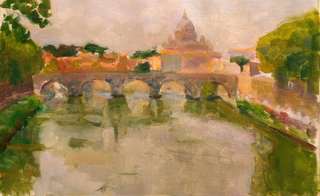 View of the Tevere, Rome, evening.