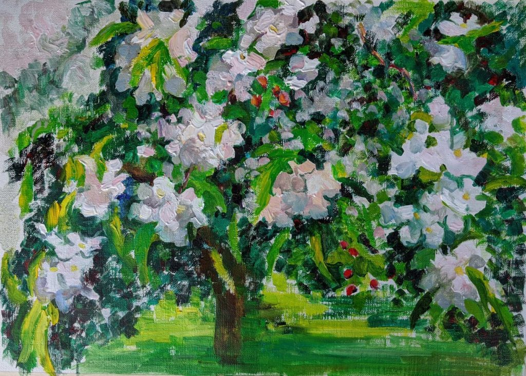 Blooming apples, oil on canvas