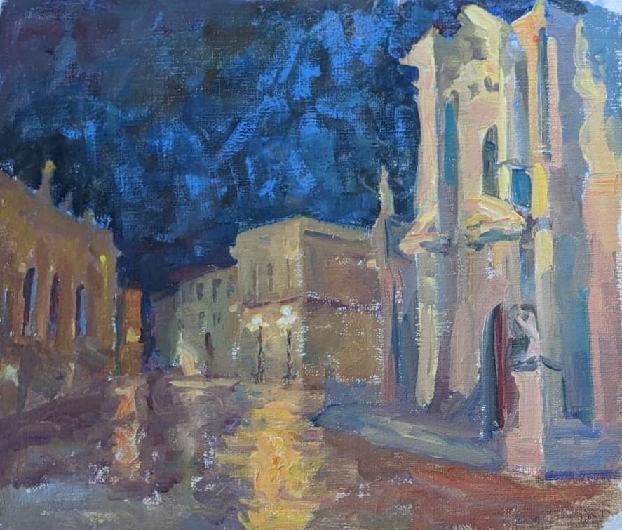Syracusa at night. oil on canvas